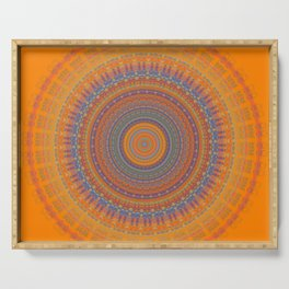 Bright Orange Blue Mandala Serving Tray