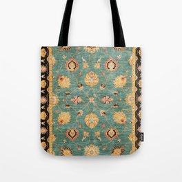 Oushak  Antique Gold Teal Turkish Rug Print Tote Bag