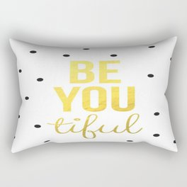 Black Gold Be You Tiful Brushtroke Watercolor Ink Typography Calligraphy Classic Quote Inspiration Rectangular Pillow