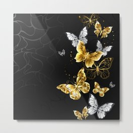 Gold and White Butterflies Metal Print