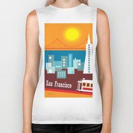 San Francisco, California - Skyline Illustration by Loose Petals Biker Tank