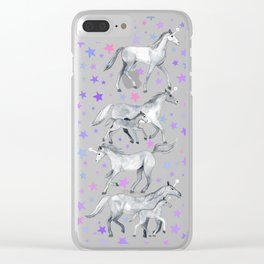 Unicorns and Stars on Soft Grey Clear iPhone Case