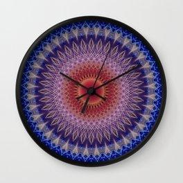 Blue, lilac and orange mandala Wall Clock