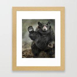Black Bear Greeting Framed Art Print