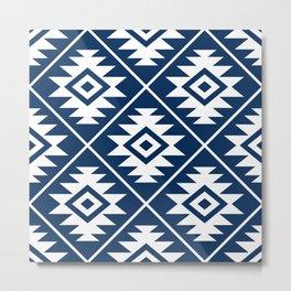 Aztec Symbol Ptn White on Dk Blue Metal Print