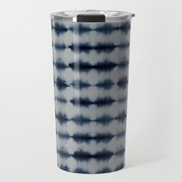 Shibori Frequency Horizontal Navy and Grey Travel Mug