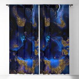 Gold and Indigo Malachite Marble Blackout Curtain