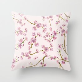 Spring Flowers - Pink Cherry Blossom Pattern Throw Pillow
