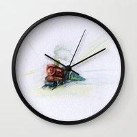 train Wall Clocks featuring Train  by Gina Rafaella