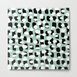 Spotted series abstract dashes mint black and white raw paint spots Metal Print