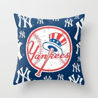 yankees Throw Pillows featuring NY YANKEES by I Love Decor