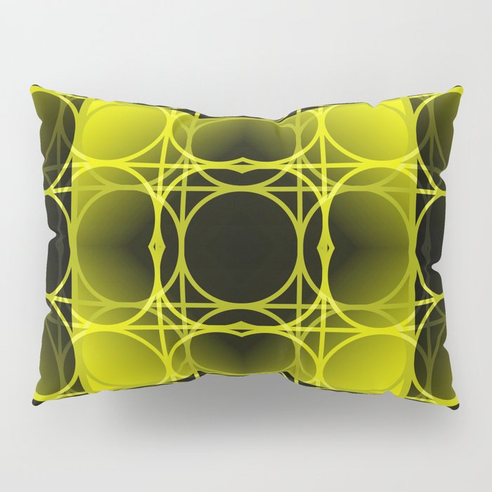 Circles, Grids and Shadows in Black and Yellow Pillow Sham