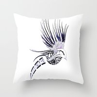 maori Throw Pillows featuring Colibri Maori by Aurélie B