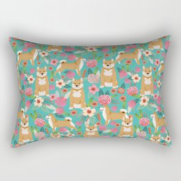 Shiba Inu floral dog breed pet art must have gifts pure bred shiba inus doggo Rectangular Pillow