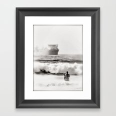 B&W Beach Scene 4 Framed Art Print