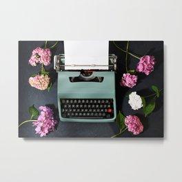 Vintage typewriter with hydrangea flowers Metal Print