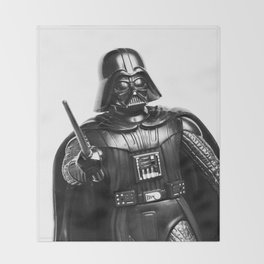 Darth Vader Black & White Photograph Throw Blanket