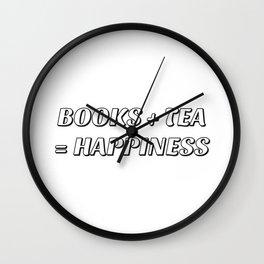 BOOKS + TEA = HAPPINESS Wall Clock