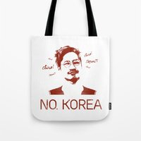 korea Tote Bags featuring No, Korea by HMS James