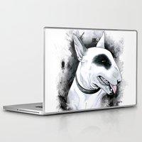 bull terrier Laptop & iPad Skins featuring Bull Terrier by kitara