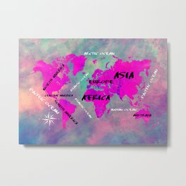 world map 122 purple #worldmap #map Metal Print