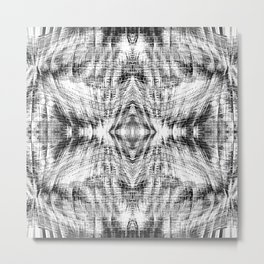geometric symmetry pattern abstract background in black and white Metal Print