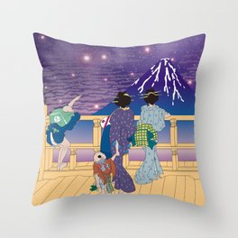 Hokusai People Seeing Mt. Fuji under the Stars Throw Pillow