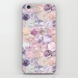 Rose Quartz and Amethyst Stone and Marble Hexagon Tiles iPhone Skin