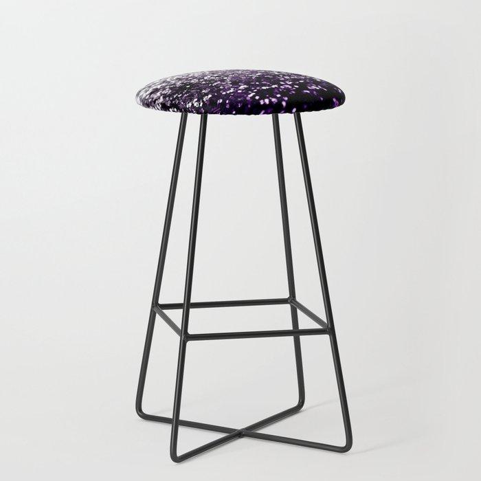 Dark Night Purple Black Silver Glitter #1 #shiny #decor #art #society6 Bar Stool