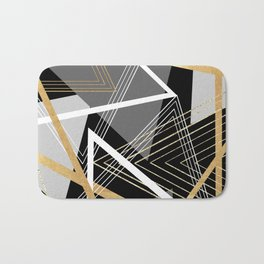Original Gray and Gold Abstract Geometric Bath Mat