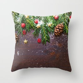 Christmas Photography - Spruce Leaves And Spruce Cones Throw Pillow