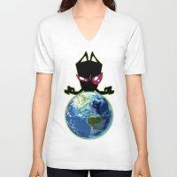 invader zim V-neck T-shirts featuring Invader Zim by Proxish Designs