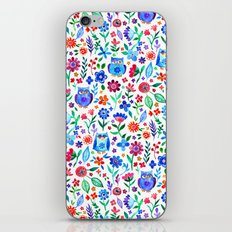 Little Owls and Flowers on White iPhone & iPod Skin