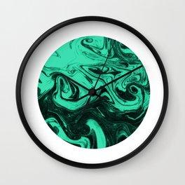 Marbled suminagashi paper marbling circle jade marble minimalist watercolor painting Wall Clock