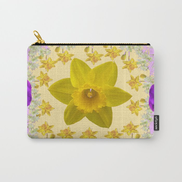 PURPLE PANSIES & DAFFODILS FLOWERS GARDEN MODERN ART Carry-All Pouch