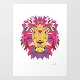 Geomatic Lion Art Print
