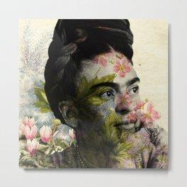 Flowered Frida Kahlo Metal Print
