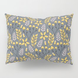 Yellow Floral Gray Pillow Sham