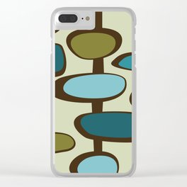 Mid Century Modern Baubles (teal) Clear iPhone Case