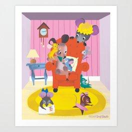 Living Room Mice Art Print