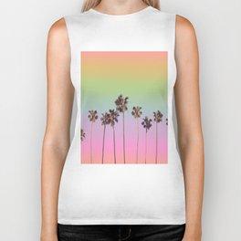 palm trees rainbow vintage Biker Tank