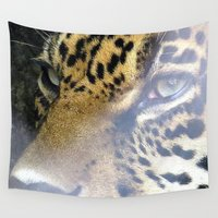 leopard Wall Tapestries featuring leopard by Laura Grove