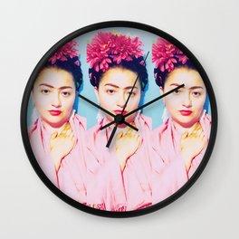 Tres Fridas in Pink Wall Clock