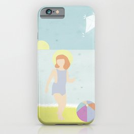 Girl at the beach with kite and ball in the 1950's vintage iPhone Case