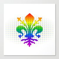 fleur de lis Canvas Prints featuring Rainbow Fleur-de-Lis by Cool Prints