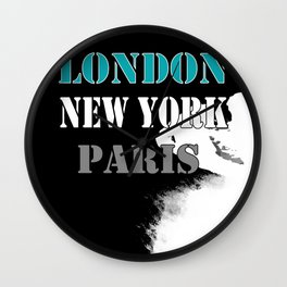 London , New York , Paris. Grunge . Wall Clock