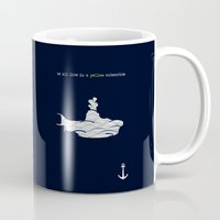 yellow submarine Mugs featuring Yellow submarine by Little cabin on the hill