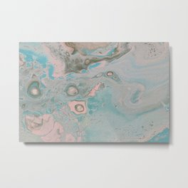 Dirty Acrylic Pour Painting 18, Fluid Art Reproduction Abstract Artwork Metal Print