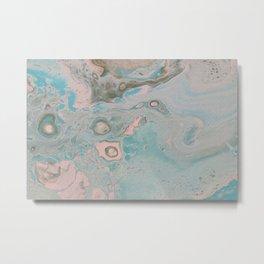 Fluid Art Acrylic Painting, Pour 18, Pastel Pink, Blue & Gray Blended Color Metal Print