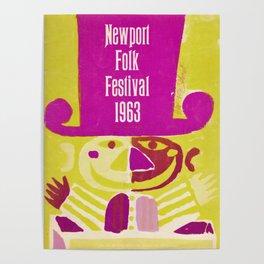 Vintage 1963 Newport Folk Festival Advertisement Poster Poster